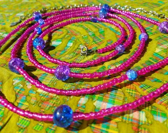 Pink beads with sparkling blue and purple beaded belly chain with snake charm. 82""