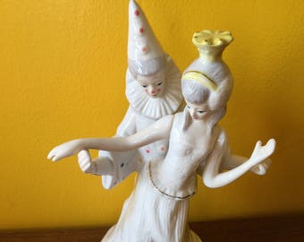 Vintage Dancing Clown Figurine