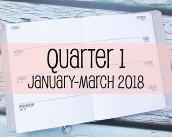 Traveler's Notebook B6 Size Week on Two Pages {Q1 | January-March 2018} #800-11
