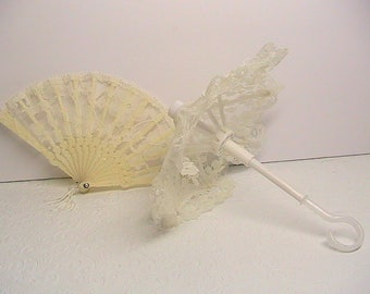 Doll Accessories, Doll Parasol and Fan, Cream and Lace Doll Accessories