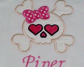 Pink Skeleton Bow Skull Pirate Matey Skull Cross Bones Crossbones Shirt /Onesy Onesie Embroidery Name (Personalizing Included) Skeleton Bow