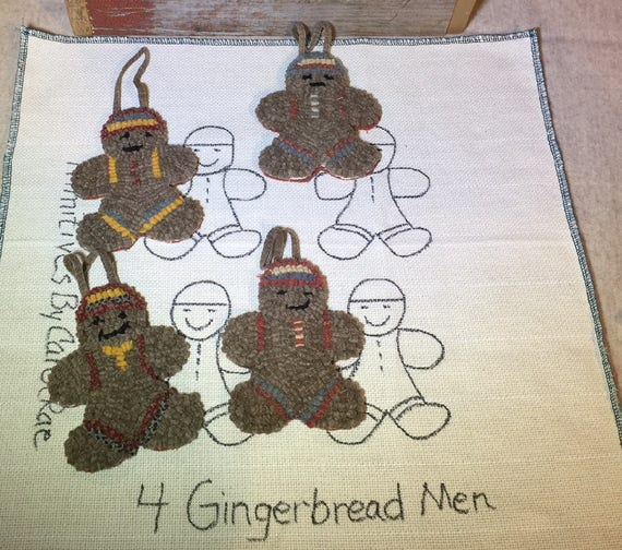 Rug Hooking PATTERN , 4 Gingerbread Ornaments  P158, Christmas Ornaments, Primitive Hooked Ornaments, Monks Cloth, Primitive Linen