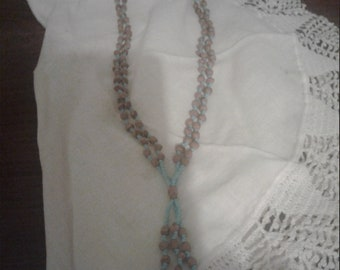"""Vintage 90s 29"""" Light Blue Double Strand Ghost Bead Necklace"""