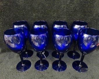 Set of 8 COBALT BLUE WINE Glasses - 12 oz Stemmed Glasses