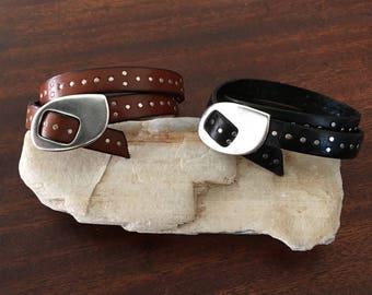 Handmade Italian Cowhide Leather Studded Wrap Bracelets RM508-509