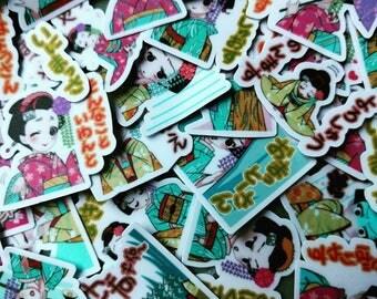 10 Geisha Stickers - Random