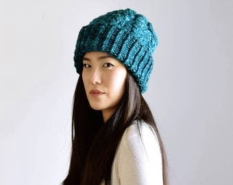 Teal Cable Knit Hat Slouchy Beanie, Merino Wool Hat, Knit Accessories
