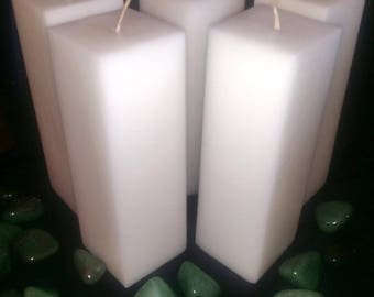 6 inch High by 2 Inch Across Square Pillar Candle - Paraffin - Decorative - Square - Centerpiece - Gift - Wax - Handmade - Handcrafted