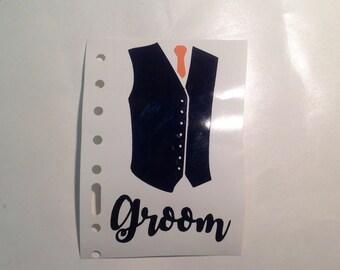 DIY Vest with Regular Tie and Name Vinyl Decals Make Your Own Wedding Tumblers Beer Glasses Mason Jars
