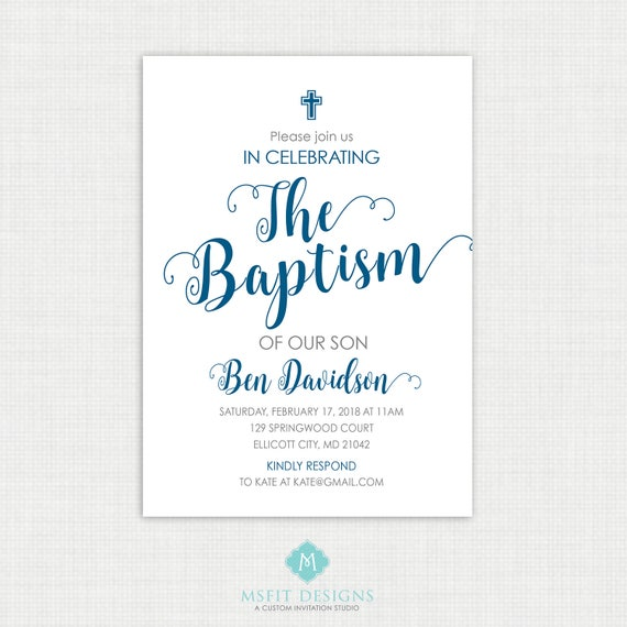 Printable Communion Invitation- Watercolor - Boy Baptism Invitation - Baby Dedication, First Communion, Confirmation, Christening