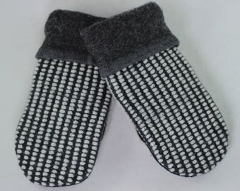 SMALL Mittens, Charcoal Gray and White Striped Mittens, Sweater Mittens, Upcycled Mittens