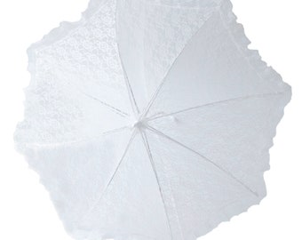 "24"" Lace baby or bridal shower umbrella white parasol"