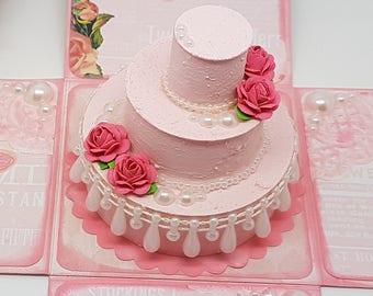 Shabby Chic Wedding Cake - Exploding Box Card