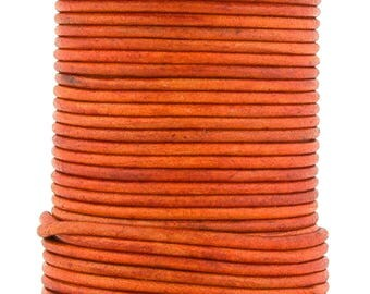 Xsotica® Orange Natural Dye Round Leather Cord 1.0mm 100 meters (109 yards)