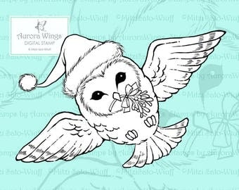 PNG Digital Stamp Download - Christmas Owl - Barn Owl w/ Santa Hat - Whimsical Holiday Line Art for Cards & Crafts by Mitzi Sato-Wiuff