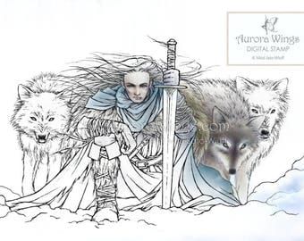 Digital Stamp Instant Download - Warrior and His Pack of Wolves - Tempest of Ice with No Background - Fantasy Line Art for Cards & Crafts