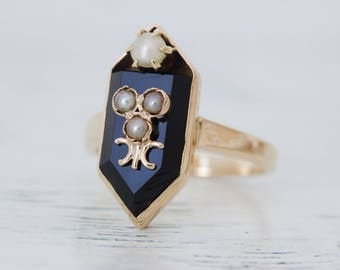 Victorian Ring | Mourning Ring | Antique Black Onyx Ring | Geometric Prism Ring | 14k Yellow Gold Ring | Pearl Ring | Pinky Ring | Size 4.5