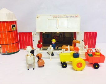 Vintage Fisher Price, Play Family Farm, Complete, Barn and Silo, Little People, FP #915, Fisher Price Animals,FP Playset,1970s Vintage Toys