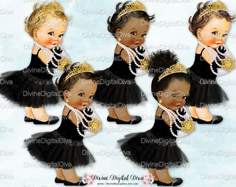 Audrey Hepburn | Pearls Gold Tiara Black Tutu | Princess Ballerina  | Vintage Baby Girl | Clipart Instant Download