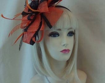 Black orange fascinator hat on a head band hair piece hat wedding ladies day races fashion designer party dress rose bow topper
