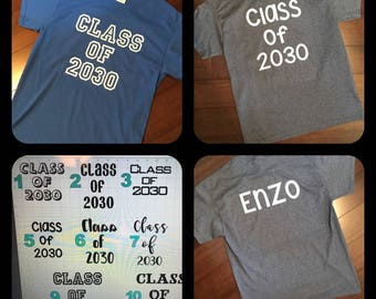 Grow With Me Class of 2030 T-Shirt - Watch Me Grow Elementary - High School Graduation Pictures - Personalized Name on Back & Font Style