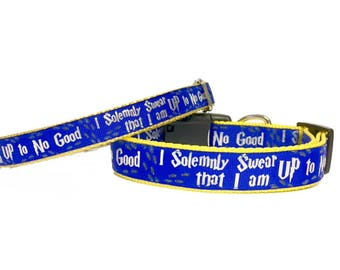Harry Potter, Ravenclaw, Hogwarts, BLUE I Solemnly Swear that I am up to No Good Dog Collar /gift for dog