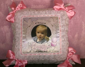 cushion baptism personalized with photo