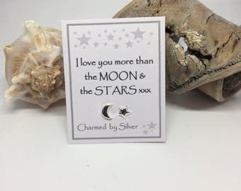Sterling Silver Moon & Star stud Earrings with Message