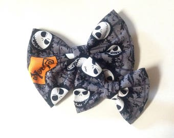 Jack Skellington Bow | Fabric Bow | Handmade Hair Bow | Hair Clip | Headband
