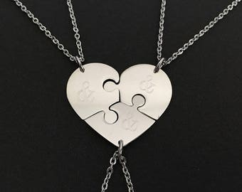 Personalized Stainless Steel Puzzle Necklaces. 3 Puzzle Necklace Set. Best Friend Necklaces. Sister Necklaces. Friendship Necklaces.