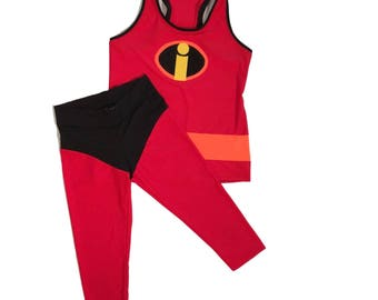 Disney Incredible Inspired running costume- Shirt and Capris