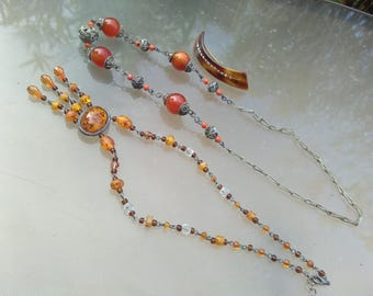 lot vintage necklace hand made silver necklace ornate silver bronze ethnic jewelry imitation amber necklace hair pin crystal