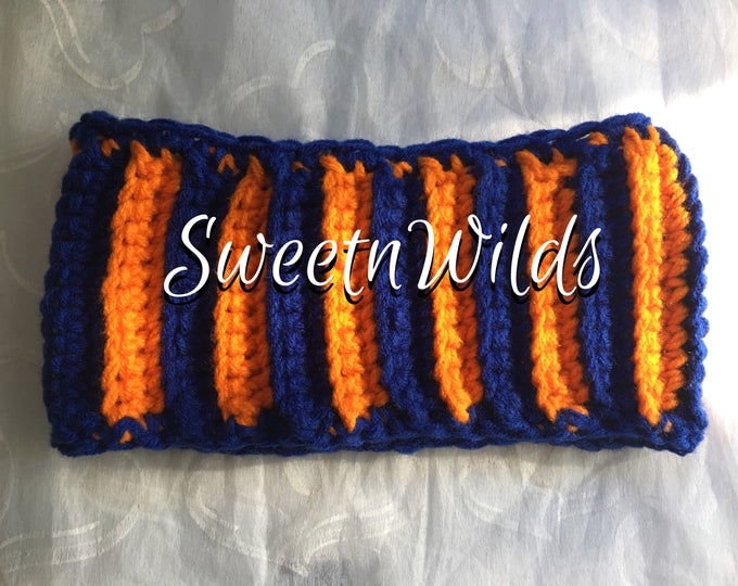 Chunky Headband-Crocheted Earwarmer-Broncos Crocheted Headband-Orand and Blue-Neckwarmer