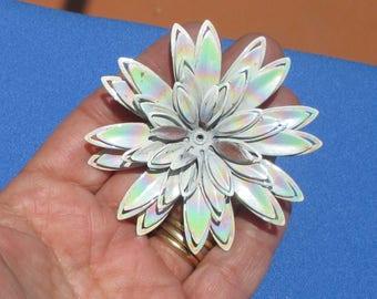 Reserved Listing For Leslie Vintage Iridescent Flower Metal Brooch Missing Center