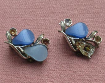 Vintage Coro Thermoset Plastic Blue Clip On Earrings Repair Repurpose Missing Cabochon Beads