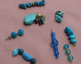 Lot Of Salvaged  Turquoise & Blue Beaded Dangles