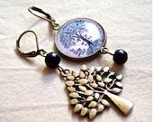 Asymmetric, bronze earrings, cabochon and bracelet charm tree, black pearls.