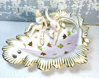 Angel Bowl Hal-Sey Halsey Fifth Ave Bisque Cherub Bowl Japan Porcelain Art Rare Collectible Mid Century Bowl Wedding Gift