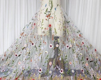 Fabulous Lace Fabric Flower Embroidered Gauze Fabric Dress Bridal Veil Floral Lace Fabric 47.24 Inches Wide 1.5 Yards