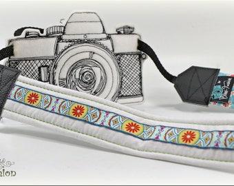 DSLR Camera strap, padded, light blue