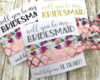 Will you be my Bridesmaid | Bridesmaid Proposal | Bridesmaid Gift Hair Tie  Favors | and help me TIE THE KNOT | Molly