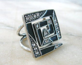 Large square ring office jewelry Labyrinth statement ring abstract jewelry square top rings Black enamel silver fashion ring graduation gift