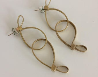 double looped zip earrings