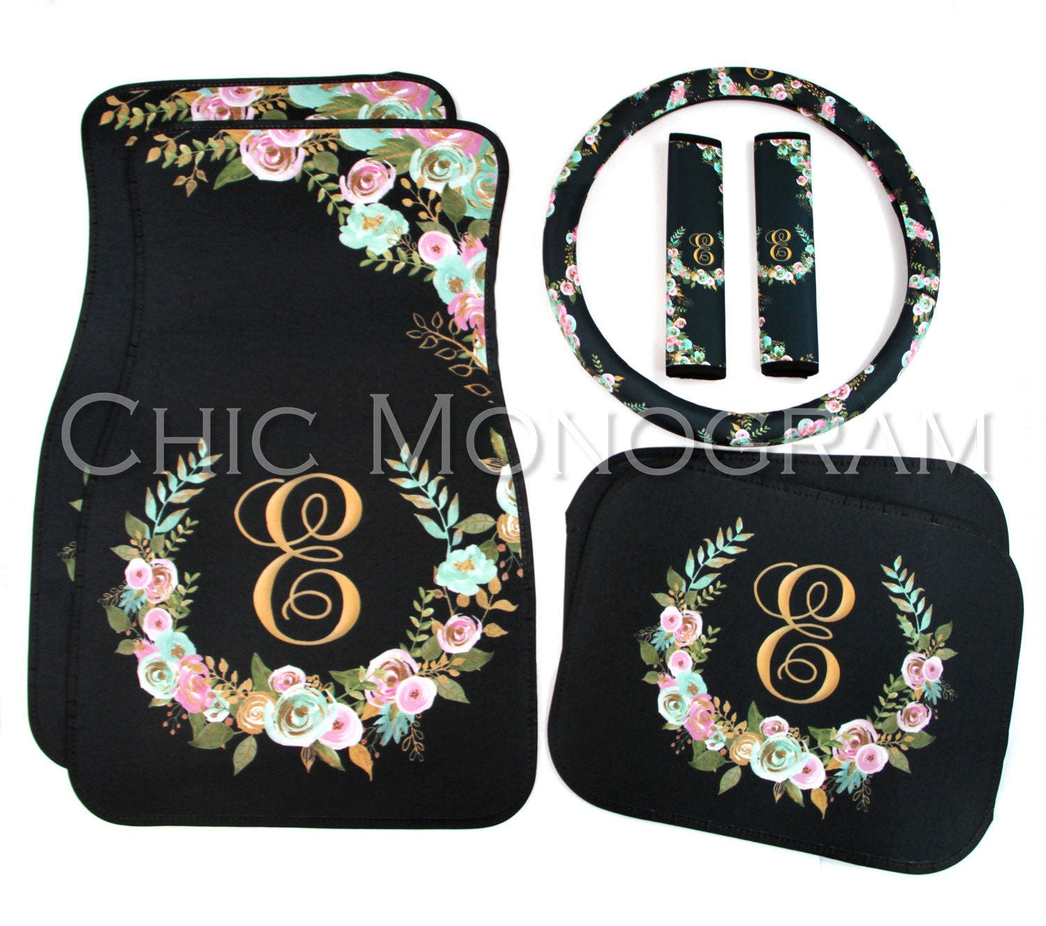 Mint And Gold Floral MIX AND MATCH Monogrammed Car Mats