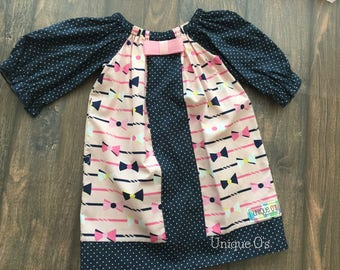 One of a kind! Gorgeous toddler girl's bow neck peasant dress, 2T, Riley Blake Derby in pink and navy polka dot, ready to ship!