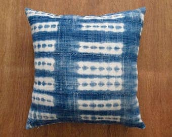 "African Indigo Mudcloth Pillow Cover,  Vintage Pillow Cover for 20"" x 20"" Pillow Inserts - Made to order"