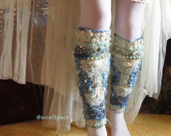 mermaid costume upcycled cashmere leg warmers mermaid decor wearable art