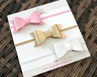 Leather Bow Headbands, Pink, Gold, White, Elastic Headbands, Baby Girl Headbands, Infant Headbands, Baby Bows, Baby Headband Set