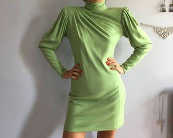 80s Emanuel Ungaro Parallele knit mini dress padded shoulders shoulder pads Vintage Ungaro wool knit tunic dress 1980s big shoulders