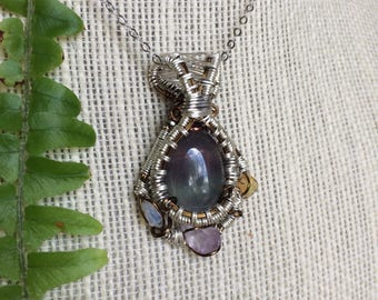 Fluorite Opal Amethyst wire wrap